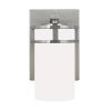 This item: Robie Brushed Nickel One-Light Bath Vanity with Etched White Inside Shade