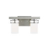 This item: Robie Brushed Nickel Two-Light Bath Vanity with Etched White Inside Shade Energy Star