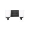 This item: Kemal Midnight Black Two-Light Bath Vanity with Etched White Inside Shade Energy Star