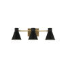 This item: Towner Brown Three-Light Bath Vanity with Black Shade