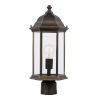 This item: Sevier Antique Bronze One-Light Outdoor Post Mount with Satin Etched Shade Energy Star