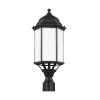 This item: Sevier Antique Bronze 22-Inch One-Light Outdoor Post Mount with Satin Etched Shade