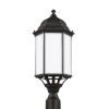 This item: Sevier Antique Bronze One-Light Outdoor Large Post Mount with Satin Etched Shade