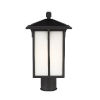 This item: Tomek Black One-Light Outdoor Post Mount with Etched White Shade Energy Star