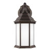 This item: Sevier Antique Bronze Small One-Light Outdoor Wall Sconce with Satin Etched Shade