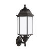 This item: Sevier Antique Bronze Nine-Inch One-Light Outdoor Uplight Wall Sconce with Satin Etched Shade