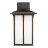 This item: Tomek Antique Bronze 11-Inch One-Light Outdoor Wall Sconce with Etched White Shade