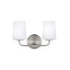 This item: Jennie Satin Nickel Two-Light Bath Vanity with White Opal Etched Shade