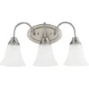 This item: Holman Brushed Nickel Three-Light Wall Bath Vanity with Satin Etched Glass