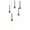 This item: Parisone Satin Black Five-Light LED Pendant with White Cased Glass