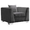 This item: Cambridge Dark Gray with Brushed Stainless Steel Sofa Chair