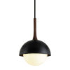 This item: Cadet Black and Natural Acacia One-Light 18-Inch Pendant