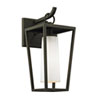 This item: Mission Beach Textured Black Small One-Light Outdoor Wall Sconce with Opal White Glass