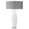 This item: Laurie White Ceramic 2-Light Table Lamp