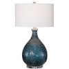 This item: Eline Brushed Nickel and Blue Glass Table Lamp
