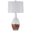 This item: Durango Earthy Terracotta Rust and White Glaze One-Light Table Lamp with Round Hardback Shade