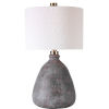 This item: Bandera Aged Bronze and Brushed Brass One-Light Table Lamp with Round Drum Hardback Shade
