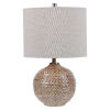 This item: Lagos Brown and Light Brushed Brass One-Light Table Lamp with Round Drum Hardback Shade