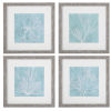 This item: Seaweed on Aqua Aqua and White Framed Prints, Set of 4