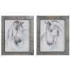 This item: Equestrian Watercolor White, Gray, and Taupe Framed Prints, Set of 2
