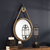 This item: Melton Aged Natural Wood Round Pulley Mirror