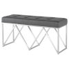This item: Celia Matte Gray and Silver Bench