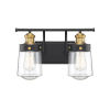 This item: Macauley Vintage Black and Warm Brass Two-Light Bath Vanity