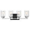 This item: Redmond Matte Black with Polished Chrome Accents Four-Light Bath Bar