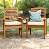 This item: Brown Acacia Patio Chairs with Cushions (Set of 2)