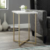 This item: Gold Legs Square Side Table with White Marble Top