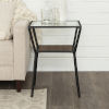 This item: Dark Walnut and Black 18-Inch Metal Frame and Glass Top Side Table