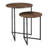 This item: Dark Walnut and Black 20-Inch Two-Piece V-Leg Nesting Side Tables