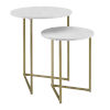 This item: White Faux and Gold 20-Inch Two-Piece V-Leg Nesting Side Tables