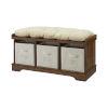 This item: Essential Dark Walnut and Black Entryway Storage Bench