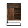 This item: William Dark Walnut and Black Bar Cabinet with Glass Top