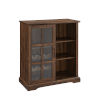 This item: Lennon Dark Walnut and Black Sliding Glass Door Bar Cabinet