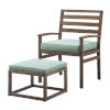 This item: Dark Brown and Blue 35-Inch Acacia Wood Outdoor Chair and Pull Out Ottoman