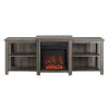 This item: Slate Gray 70-Inch Tiered Top Open Shelf Fireplace TV Console