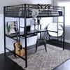 This item: Black Metal Full Loft Bed with Workstation