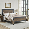 This item: Queen Size Industrial Wood and Metal Bed - Rustic Oak