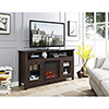 This item: 58-Inch Wood Highboy Fireplace Media TV Stand Console - Traditional Brown