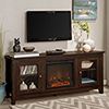 This item: 58-Inch Wood Media TV Stand Console with Fireplace - Traditional Brown