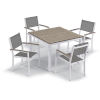 This item: Travira Chalk Titanium Sling and Vintage Tekwood Armcaps 39-Inch Square Dining Table with Four Armchairs