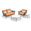 This item: Nette Multicolor Patio Loveseat and Table Set with Cushion, 4-Piece