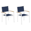 This item: Travira Ink Pen Sling Natural Tekwood Armcaps and Chalk Powder Coated Aluminum Frame Armchair , Set of Two
