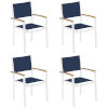 This item: Travira Ink Pen Sling Natural Tekwood Armcaps and Chalk Powder Coated Aluminum Frame Armchair , Set of Four