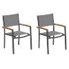 This item: Travira Titanium Sling Natural Tekwood Armcaps and Carbon Powder Coated Aluminum Frame Armchair , Set of Two