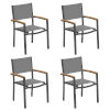 This item: Travira Titanium Sling Natural Tekwood Armcaps and Carbon Powder Coated Aluminum Frame Armchair , Set of Four