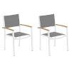 This item: Travira Titanium Sling Natural Tekwood Armcaps and Chalk Powder Coated Aluminum Frame Armchair , Set of Two