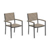 This item: Travira Vintage Tekwood Seat and Carbon Powder Coated Aluminum Frame Armchair , Set of Two